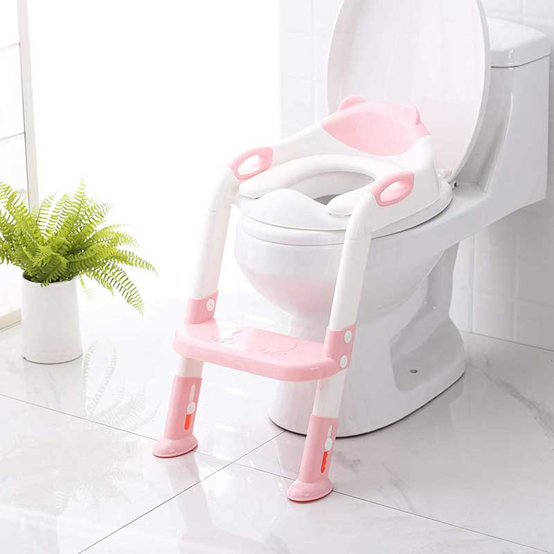 potty chair vs potty seat: SKYROKU soilet seat with step trainer ladder